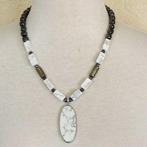 White Howlite & Gray Hematite Statement Necklace